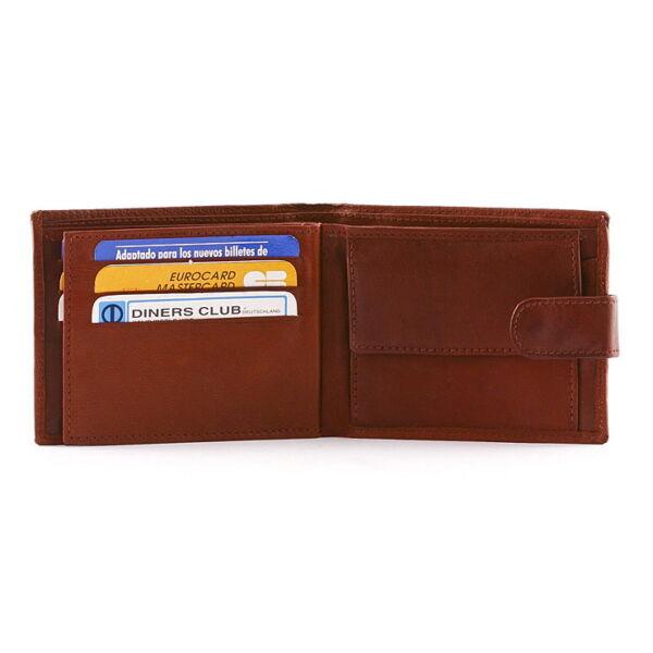Férfi bőr pénztárca 5 db-os kihajtható irattartóval
