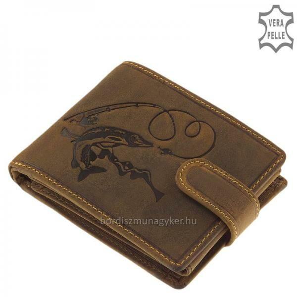 GreenDeed horgász bőr pénztárca csuka mintával