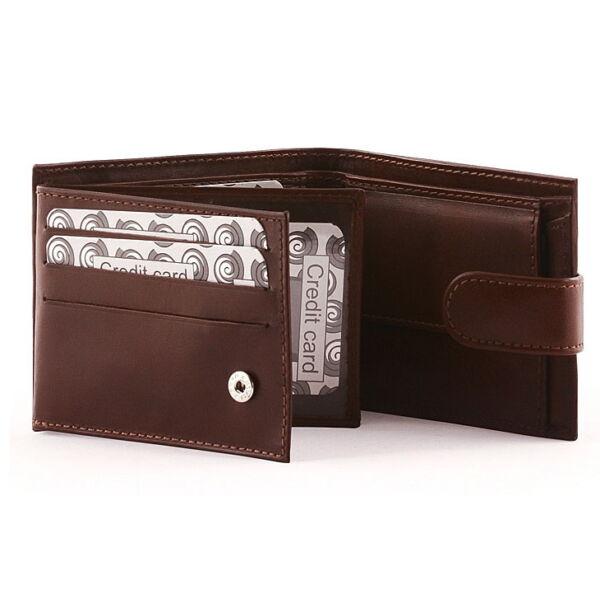 Férfi fényes marhabőr pénztárca 9 db-os kártyatartóval
