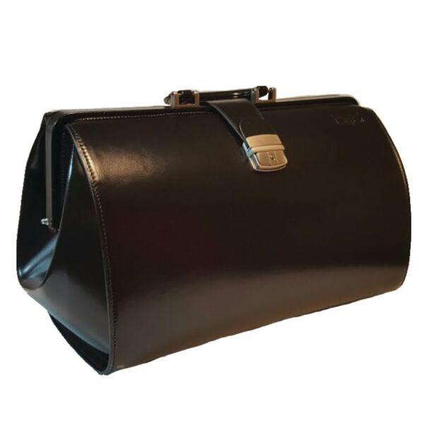 Blázek&Anni: Óriás fekete bőr állatorvosi táska 41x28x24 cm