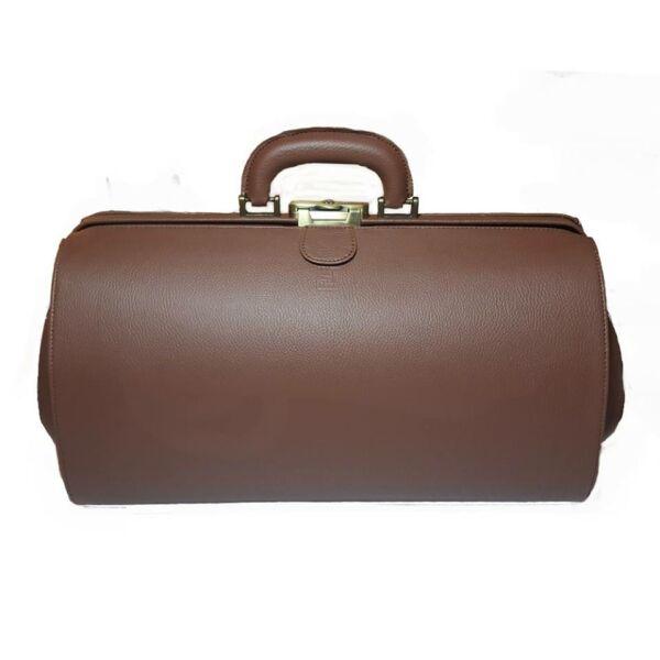 Nagyméretű barna textilbőr orvosi táska 41 x 24 x 23 cm.
