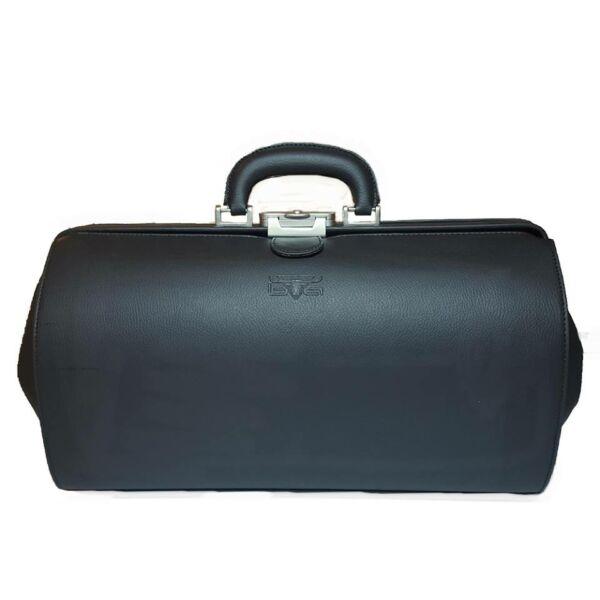 Nagyméretű fekete textilbőr orvosi táska 41 x 24 x 23 cm.