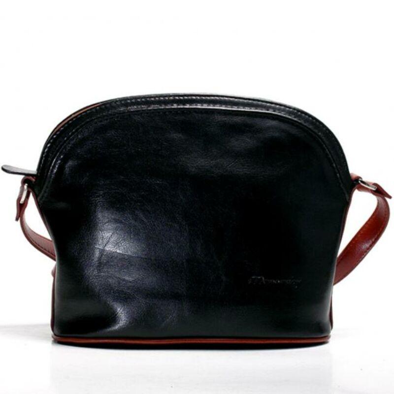 Vilma fekete-konyak női bőr válltáska 30 x 22 cm. 23.990 Ft-os áron! c053bd027b