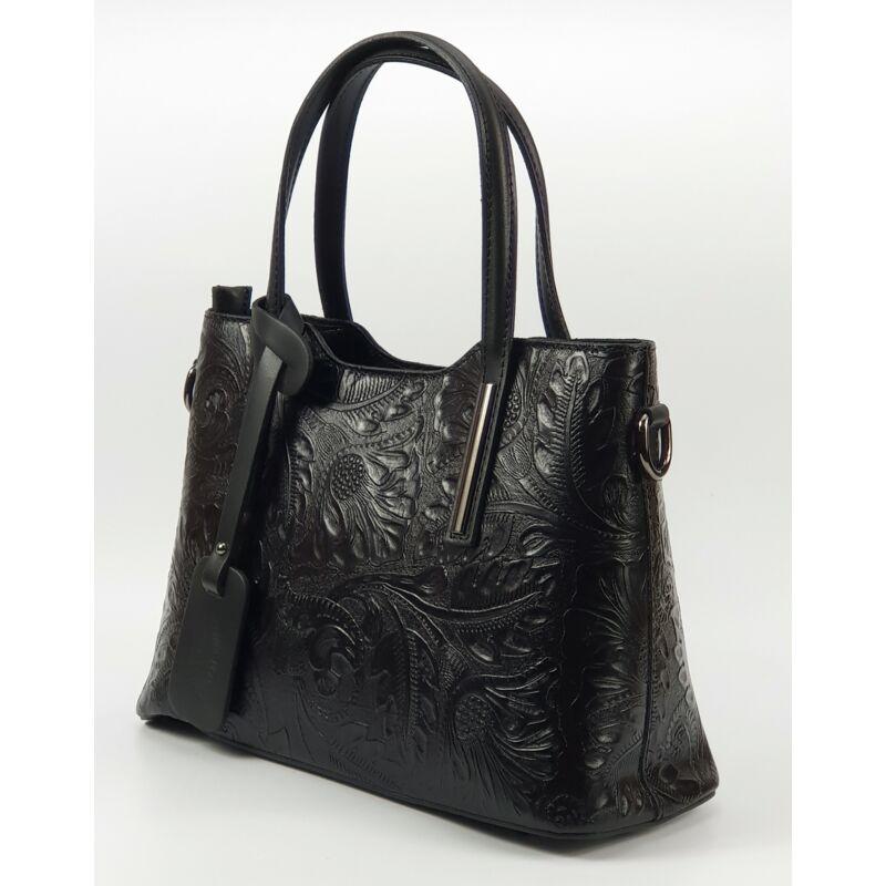 7f0cc4e8527c Isabell fekete nyomott mintás olasz női bőr kézitáska vállpánttal 37 x 28  cm.