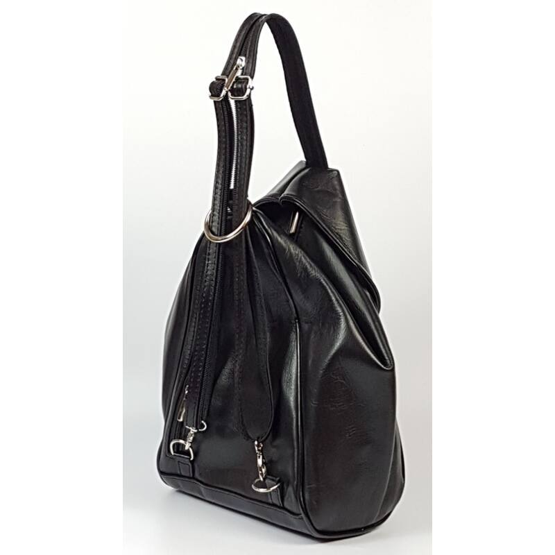 Rialto olasz háromszög alakú női fekete bőr hátizsák 25 x 30 cm ... 958ff8a42d