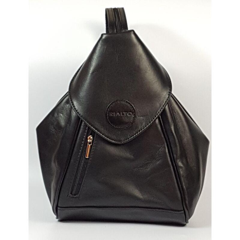a8b2cfde5228 Rialto olasz háromszög alakú női fekete bőr hátizsák 25 x 30 cm ...
