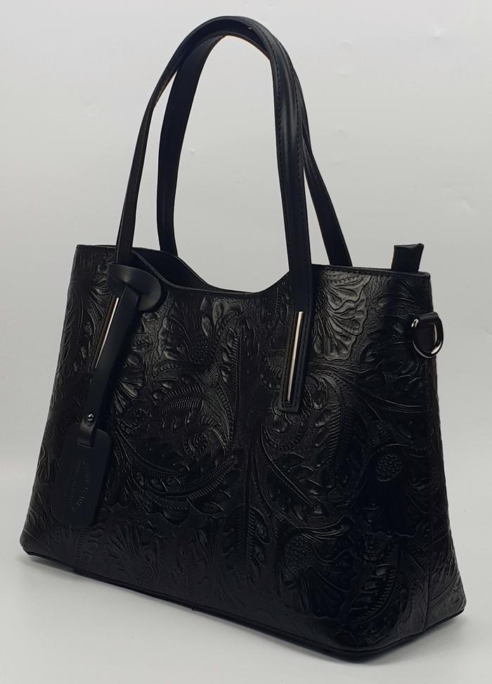 Isabell fekete nyomott mintás olasz női bőr kézitáska vállpánttal 37 x 28  cm. 22.990 Ft-os áron! 508ab079d8